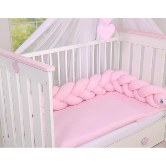 Cot Bumper Braided - Pink