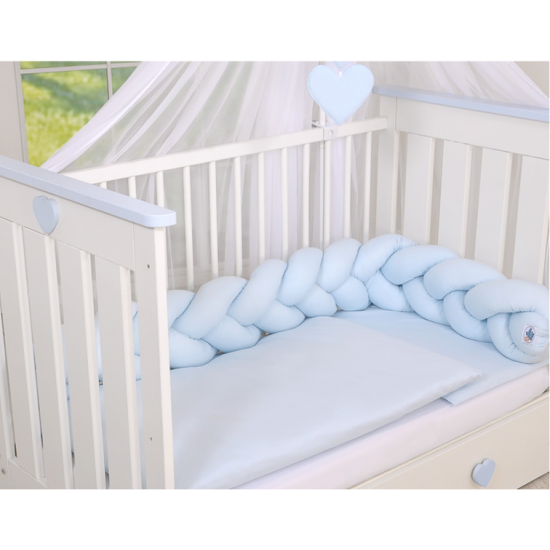 Cot Bumper Braided - Blue